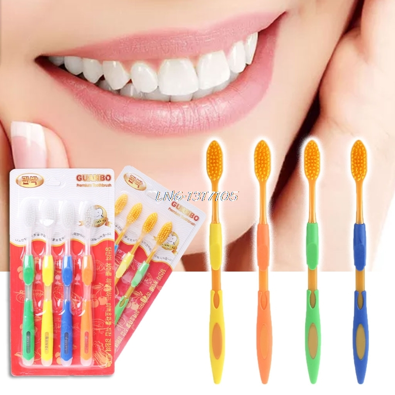 4PCS Double Ultra Soft Toothbrush Nano Brush Teeth Cleaning Oral Hygiene Care LNG