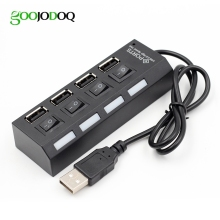 Slim 4 Ports USB 2.0 Hub USB Hub High Speed USB 2.0 Splitter Adapter Hub with Cable on/off Switch For Macbook PC Laptop
