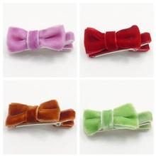 Free Shipping 400pcs Autumn and Winter Velvet Hair Clips Bow Knot Fall Head Wear Bow Hair Grips Hot Butterfly Tie Hairpin