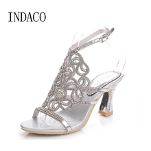 2017 Silver Rhinestone Sandals Crystal High Heel Shoes Wedding Shoes Black Gold Strappy Heels Sandales Femme 8cm INDACO(China)