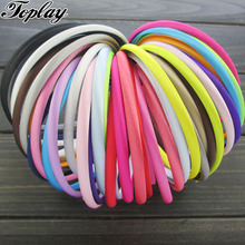 Toplay 120pcs/lot 7mm Satin Covered Resin Headbands kids Elastic Hairbands Hair Accessories girls Hair Ornament(China)