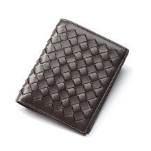GSQ Hand Made Weave Genuine Leather Men Short Wallet High Quality Promotion Money Clip Cowhide Leather Men Purse Best Gift Q356(China)