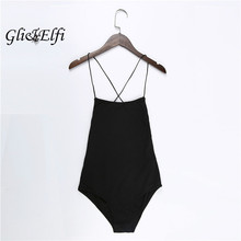 Buy Cotton Bodysuit Women 2018 Summer Sexy Open Back Crop Top Casual Jumpsuit Romper Halter straps Overalls Party Black Playsuits