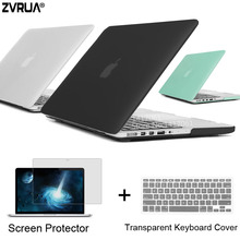 ZVRUA Best Laptop Case For Apple MacBook Pro 13 15 inch with Retina / CD ROM + Keyboard Cover + Screen Protector