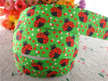 "17030262,New arrival 1"" (25mm) 10 yards/lot flowers ladybug printed grosgrain ribbons cartoon ribbon DIY handmade materials"