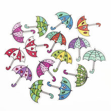 50pc Cute Wooden 2 Hole Umbrella Scrapbooking Wood Buttons Craft Kids Clothing