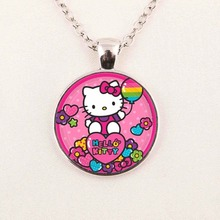 Wholesale Hello Kitty Necklace Hello Kitty Jewelry Girls Glass Cabochon Necklace Gifts For Girl