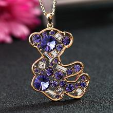 Lovely Little Bear Necklace Pendants Gold Colored  Rhinestone Necklace Women Long Chain Necklaces Cute Bear Girl Jewelry Gifts