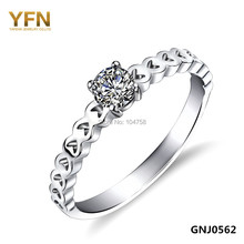 GNJ0562 New Promotion Fashion Heart Ring Genuine 925 Sterling Silver Jewelry CZ Engagement Wedding Rings For Women Holiday Sale