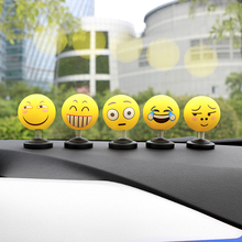 ABS Funny Emoji Shaking Head Dolls Auto Car Decoration Ornaments Creative Smiley Cute Shy Expression Decor Toys Gift Car Styling(China)