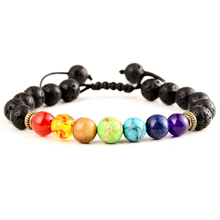 Buy 7 Chakra Bracelet Men Women Black Lava Healing Balance Reiki Prayer Natural Stone Beads Yoga Strand Bracelets Adjustable Rope for $1.42 in AliExpress store