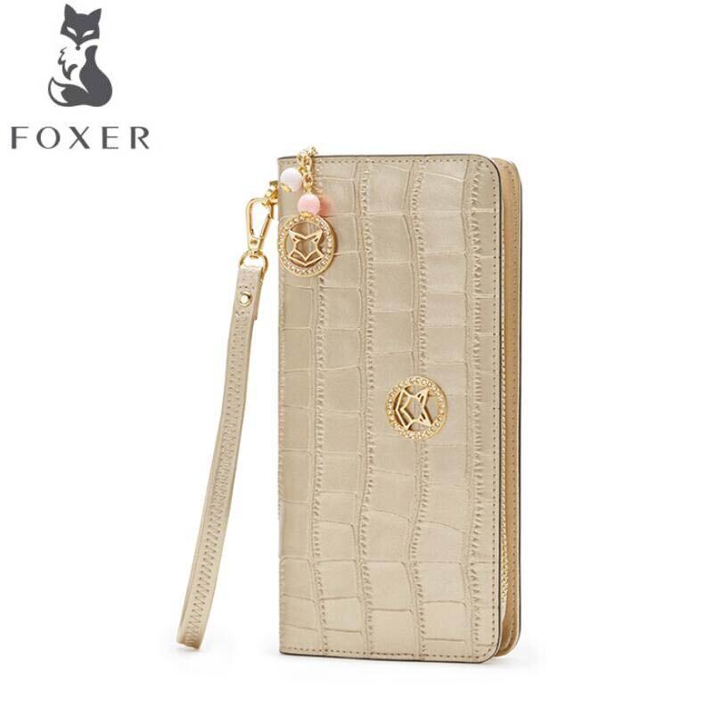 FOXER New women leather bag brands fashion Superior cowhide  wallet women purse fashion long women wallets<br>