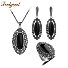 Feelgood Antique Silver Color Jewellery Vintage Black Jewelry Set Crystal And Resin Big Long Pendant Necklace Earrings Ring Sets