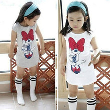 2016 Fashion Summer Minnie Bow Party Dress T-shirt  Baby Kids Girls Tops Children Clothes