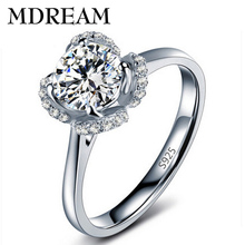 wholesale ring market silver Color ring with AAA Zircon women wedding classic rings jewelry gift LSR058(China)