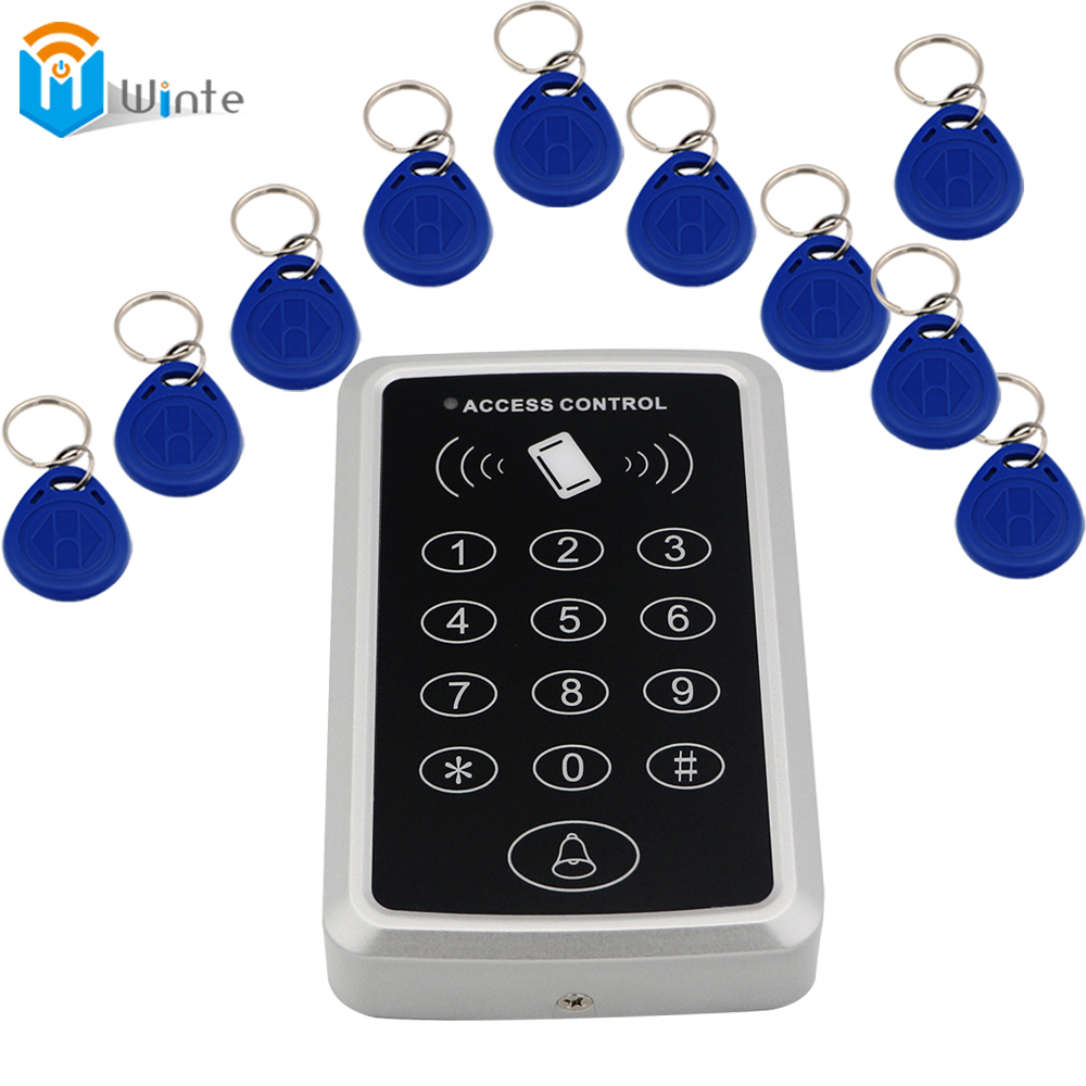 10pcs fob keys +1pcs 119 Card reader Access Control System RFID Proximity Card RFID/EM Keypad Door Opener Access Control Winte<br><br>Aliexpress