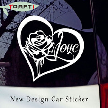 Pvc Self Adhesive Decorate Accessories Rose Heart Love Vinyl Diy Decal Sticker Car Window Wall Bumper Tattoo Style Symbol(China)