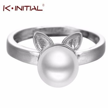 1Pcs  Cute Cat Opal Stone Simulated Pearl Ring Wholesale 925 Sterling Silver Fashion Brand Elegant Rings Jewelry For Women Gift