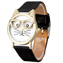 Relojes Cute Cat Glasses Watch Women's Leopard Leather Analog Quartz Wrist Watch Women Mens Sports Clocks Relogio Wholesale(China)