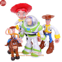OHMETOY 5PCS Toy Story 3 Buzz Lightyear Woody Jessie Action Figures Kids Toys Birthday Gift 8-18cm Baby Dolls Cake Toppers