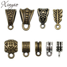30pc/lot Antique Bronze/Silver Pendant Clasp Necklace Connector Bail Beads Vintage Charm Jewelry Connectors for DIY Jewelry F803(China)