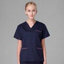 Plus Size Surgeon's Scrubs Set Top and Bottom Nurse Doctor Scrubs Uniforms Long Sleeves Unisex V Neck Short Sleeves OR Uniforms(China)