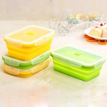750ml Home Kitchen Microwavable Silicone Collapsible Lunch Box Portable Bowl Bento Boxes Food Holder Storage Container Organizer