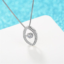 Clever Eyes Swing AAA Zircon Necklace Oval Pendant White Small Crystal Jewelry Necklace For Fashion Women Charm Gift DZ201(China)