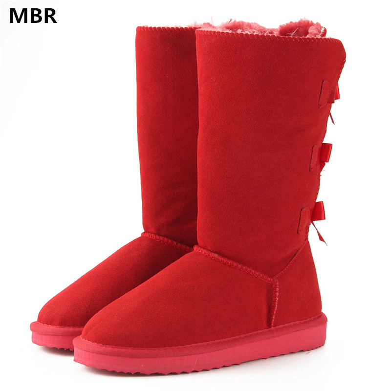 MBR 2017 Fashion Women Long Boots Genuine cow Leather Snow Boots Bowknot UG Snow Boots Warm High Winter Boots US 3.5-13<br>