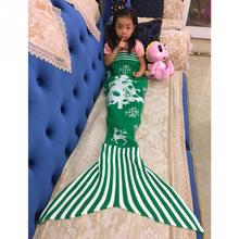 Christmas tree Elk Knitting Mermaid Sofa Covered Blanket Handmade Knitted Crochet Mermaid Tail Blanket Soft Sofa
