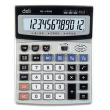 1 Piece Authentic Deli 1529 Crystal big button computer voice calculator 12 digits big screen with Clock
