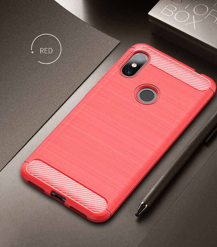 For Xiaomi Redmi Note 6 Pro Case Soft Silicone Brushed Carbon Fiber Rugged Armor