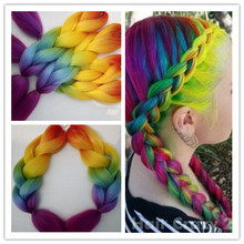 New Fashion Gorgeous Rainbow Ombre Braiding Hair Extensions Synthetic Jumbo Box/Twist Braids Bulk African Braiding Hairstyles