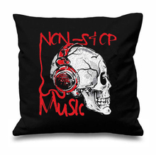 Geek Novelty Music Decorative Cushions Cover Music Love Non Stop Throw Pillows Cases Music Headphone Skull Car Seat Decor Gifts
