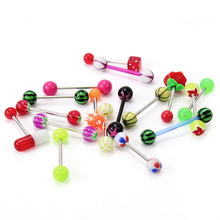 2017 New Fashion 16pcs Mixed Color Plastic Balls Stainless Steel Barbell Tongue Bar Piercing Body Jewelry Accessory Summer Style(China)