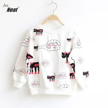 Girl brand sweater pure white loaded autumn children t-shirt sweater bottoming shirt small kitty print head coat long sleeve 11