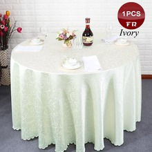Wholesale 1PC Polyester Wedding Tablecloth Jacquard Red Round Table Cloth Hotel Party Table Cover Decor White Solid Table Linens(China)