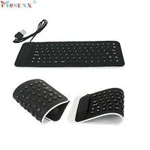 Hot-sale Black  24cm x 9cm 85 Keys Portable USB Mini Flexible Silicone PC Keyboard Foldable for Laptop Notebook 1 pc