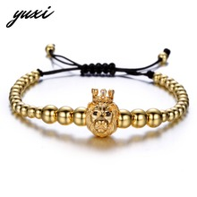 YUXI Animal King Lion Strand Bracelet Men Jewelry Adjustable Beads Bracelets Male Hand Accessories Pulseira Masculina