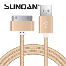 New Original 1M 1.5M 150CM 100CM 30 pin Metal plug Nylon Braided Sync Data USB Cable For iphone 4 4S 3GS iPad 1 2 3