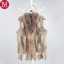 Women Rabbit Fur Gilet 100% Real Genuine Rabbit Fur Vests with tassels Raccoon Fur Trimming Knitted Fur Coat Wholesale Retail(China)