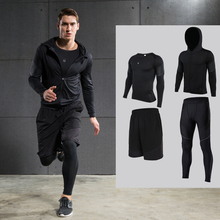 Men's Compression Sets Running Sets Long Sleeve Shirt Jackets Shorts and Pants for Joggers Gym Fitness Tights Sets