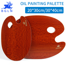 BGLN 1Pcs Oval Oil Painting Palette Wooden Walnut Color Professional Oil Acrylic Paint Tray Artist Palette Paleta Art Supplies(China)
