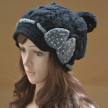 Women Winter Hats Bow trimmed Cotton Knit Beanie Hats for Girl Cloche Cap  Wool Berets Casual 255a7bfd04f5