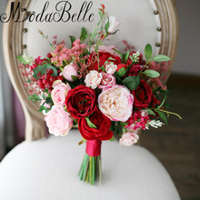Modabelle New Style Outside Wedding Bouquets Red Pink Artificial Flowers Bridal Bouquets 2017 Brooch Bouquet Brides Photography