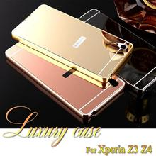Buy sony Xperia Z3 Z4 New Luxury 2 1 Elegant Metal Aluminum Frame Frame + Acrylic Mirror Ultra Slim Back Cover for $2.56 in AliExpress store
