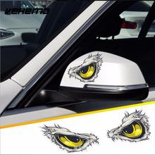2Pcs 10x8cm 3D Stereo Reflective Cat Eyes Car Stickers Car Side Fender Sticker Rearview Mirror Windows Vinyl Decal Car Styling(China)
