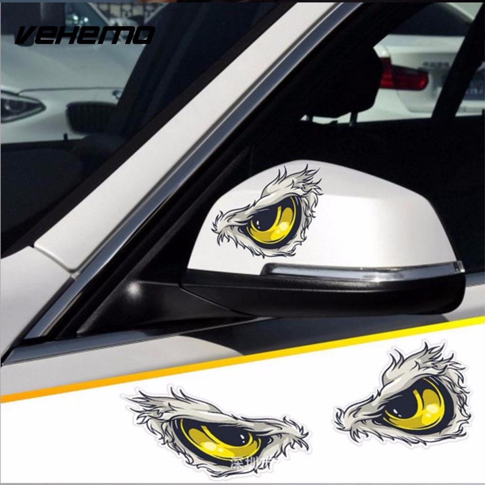 Sticker design for car online - 2pcs 10x8cm 3d Stereo Reflective Cat Eyes Car Stickers Car Side Fender Sticker Rearview Mirror Windows