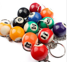 FREE SHIPPING BY DHL 200pcs/lot 2015 New Resin Mini Billiards Shaped Keychains Sports Keyrings for Gifts(China)