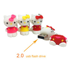 Flash Memory Stick lovely Usb Flash Drive 4GB 8GB Pendrive 16GB Pen Drive 32GB Cute Hello Kitty Cat Free shipping Real capacity(China)